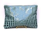 Turquoise Crocodile Clutch