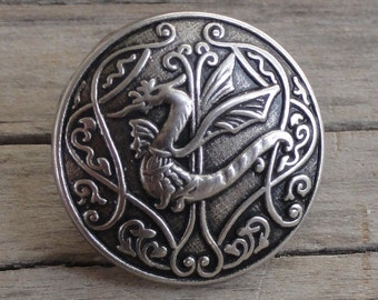 2 Metal Buttons - Dragon - Antiqued Silver Buttons with Shank - 5/8 inch