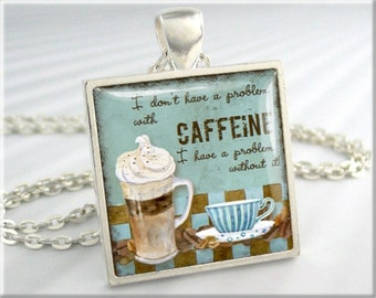 Espresso Coffee Necklace Cafe Jewelry Resin Picture Art Pendant Charm (556SS)