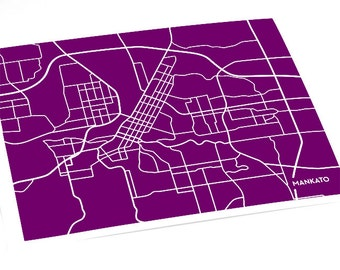 Mankato City Map Wall Art Print / Minnesota State University MSU College Map Grad Gift / 8x10 Digital Print