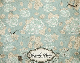 IN STOCK / Fast Shipping / 5ft x 5ft Vinyl Photography Backdrop / Floral Cracking Concrete / Shabby Chic