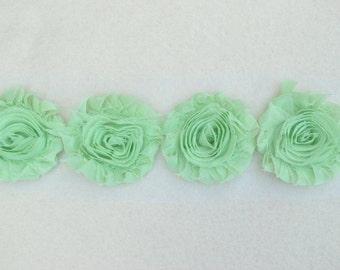 Shabby Chiffon Rose Trim, Shabby Flower, Mint, 1 yard