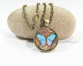 Steampunk Butterfly Necklace, Blue Butterfly Glass Necklace, Steampunk Pendant Necklace