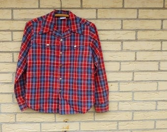 Vintage Shirt Mens Boys Plaid Red Silver Snap