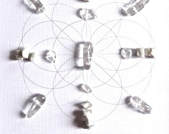 HELPFUL PEOPLE BAGUA Area --- feng shui art --- framed sacred crystal grid --- howlite, quartz