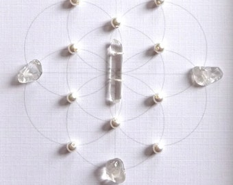 WEDDING BLESSING GRID --- framed sacred crystal grid --- clear quartz, pearl