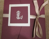 Beautiful Hand Embossed Wedding Invite with Ribbon Buckle and Monogram