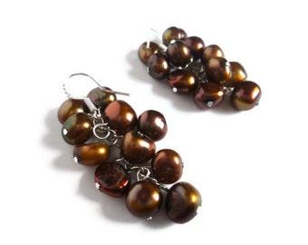 Brown Floating Pearl Earrings