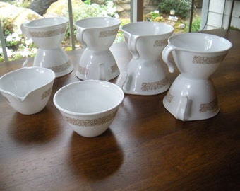 Vintage Corelle Woodland Cups  With Creamer and Sugar Bowl