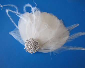 Bridal Fascinator, Wedding Headpiece, Feather Fascinator, Bridal Headpiece, Bridal Hair Fascinator, Off White, Ivory or Champagne