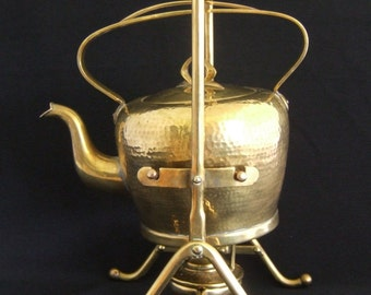 Vintage 1920 GBN Gebroder Bing Nurenborg Brass Teapot on Stand with Burner.