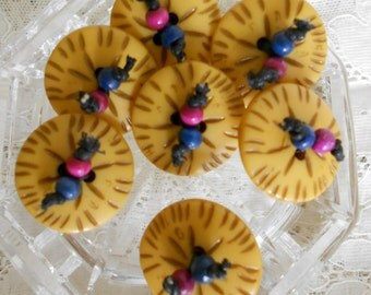 Yellow Wood Beaded Buttons