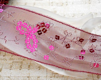 Cranberry Stitched Sequined Floral Trim