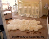 SheepSkin Accent Rug / Shaggy Sheep / Faux Fur / Flokati / Great For Nursery or Bedroom / Off White /  New