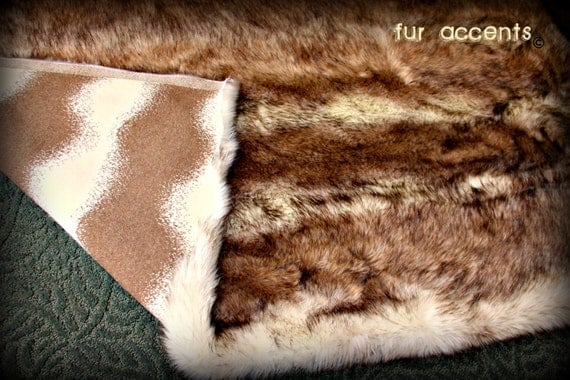 Items similar to Plush Faux Fur Animal Pelt Rug Realistic Fur Coyote / Wolf Skin Throw Accent ...