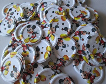 100 Mickey Mouse Embossed Paper Buttons