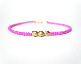 Hot Pink Bracelet, Beaded Friendship Bracelet, Gold Nugget Bracelet, Neon Jewelry UK