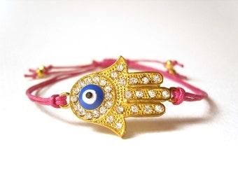Hand of Hamsa Bracelet, Hot Pink String Bracelet, Friendship Bracelet, Neon Pink Jewelry UK