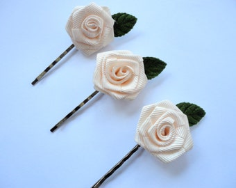 Blush Roses Bobby Pins, Flower Hair Pins, Light Pink Little Flowers, Wedding Hair, Flowergirls, Bridesmaids, Boho Chic, Set of Three Bobbies