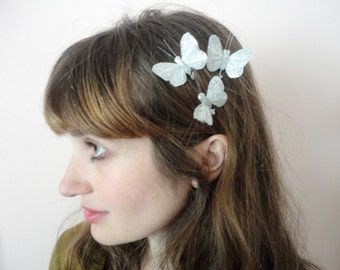 Silver Butterfly Wedding Hair Pins, Butterfly Hair Pins, Silver Hair Pins, Silver Butterflies, Set of Three, Wedding Updo, Prom Hair Pins