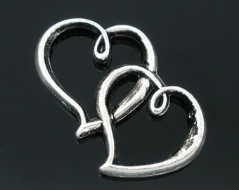 5 Silver Heart Charms Pendants  32x25mm - Ships IMMEDIATELY from California - SC557