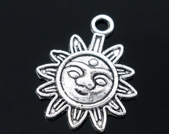 5 Sun Charms -  Antique Silver Pendants - 21x17mm - Ships IMMEDIATELY  from California - SC583