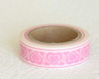 SALE Washi Tape - Pink Hearts Washi Tape - 15mmx10m - 1 Roll - Ships IMMEDIATELY from California - TP231
