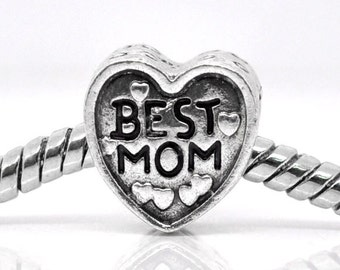 5 Best Mom Beads - Silver Hearts - 11mm  - Ships IMMEDIATELY  from California - B593