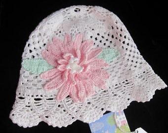 Crochet Panama Hat with flower, Crochet Summer Hat Baby Sun  Panama Hat with Flower Girls Sun Hat with Brim Girls Summer Hat Panama