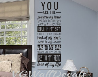 Master Bedroom Wall Decal You Are The Love Of My Life Love Quotes Wall Art  Wall