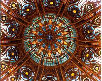 Paris Photography - Ornate Glass Ceiling, Galeries Lafayette, Architectural Fine Art Photograph, Urban Home Decor
