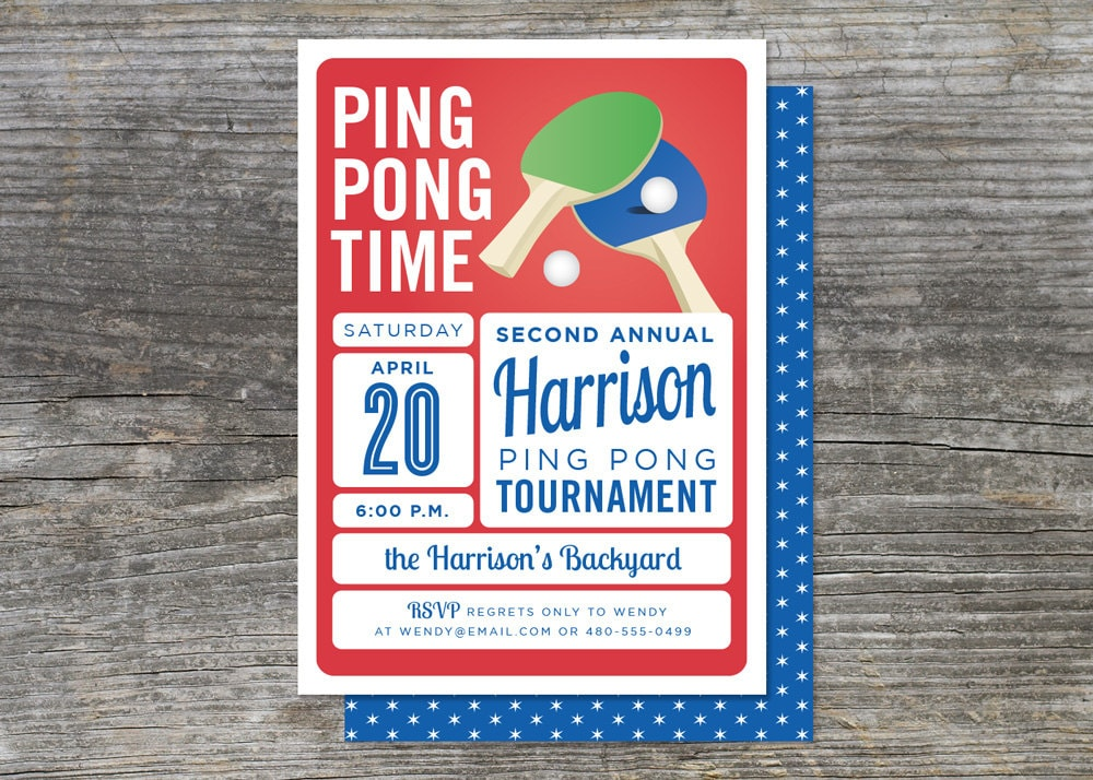 Table tennis invitation ping pong 15 for Table tennis tournament template