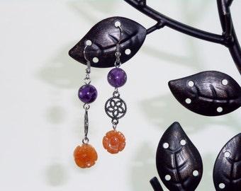 Purple Kiwi Jasper & Orange Aventurine Flower with Filigree Disk Gemstone Earrings