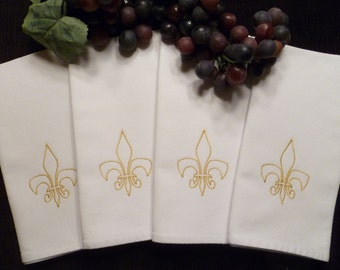 Last One--Ready to Ship---Set of 4 Cloth Cotton Embroidered Dinner Napkins- FLEUR DE LIS
