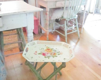 Vintage hand painted flowers pretty green stool