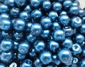 40 Pcs - Navy Blue Glass Pearl Beads - 8mm in diameter, hole: 1.5mm