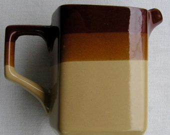 50s Vintage Three Tone Brown Creamer Pitcher Japan Red Clay Pottery