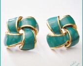 Vintage - Teal / Gold Earrings