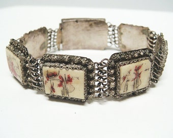 OLD Chinese Silver Painted Filigree Bracelet