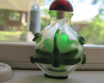 Old decorated hand overlay glass dragonfly snuff bottle