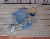 Dollhouse Miniature Shabby Chic Kitchen Fringed Tea Towel in Blue and White and Lace Trim
