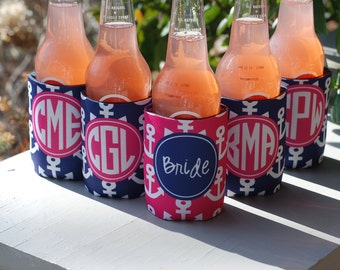 Personalized Can Coolers set/9 Monogram Monogrammed Great for Bridal Wedding Bachelorette