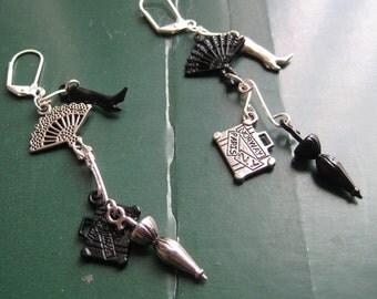 Victorian steampunk doodad dangle earrings, black and silver steampunk jewelry