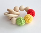 Teething toy with crochet green, yellow, red wooden beads and 2 wooden rings. Wooden rattle. Gift for baby and mum.