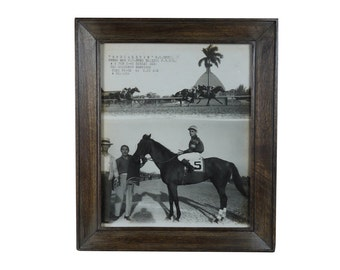 Framed Original Photograph of Horse Race Winner, Havana Cuba 1946