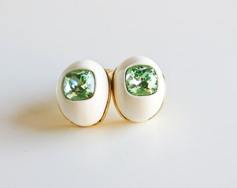 Vintage Kenneth Jay Lane Mod Egg Earrings with Large Mint Gem Settings