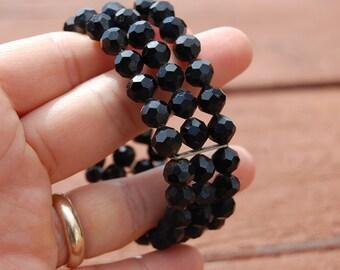 Sale~ Mourning 1950's faceted JET black glass bead BRACELET