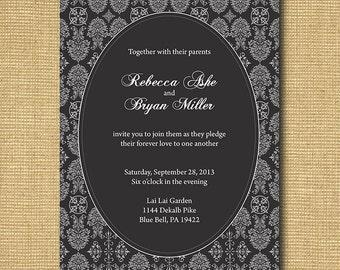 Ornate Lace-Inspired Printable Wedding Invitation