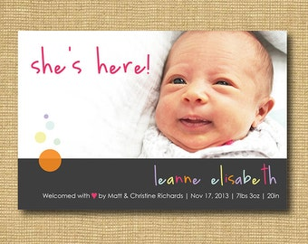 She's Here: DIY Printable Baby Announcement - Baby Girl