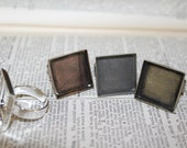 HALF OFF 6 Ring base setting Square 20mm 3/4 inch Blank antique Bronze, copper, silver plated,  Adjustable - findings